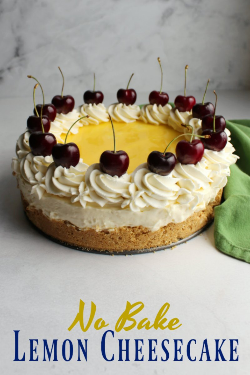 This super creamy no bake lemon cheesecake has the perfect balance of sweet and tart. The bright lemon sings and you never have to turn on your oven, making it the perfect summer treat!