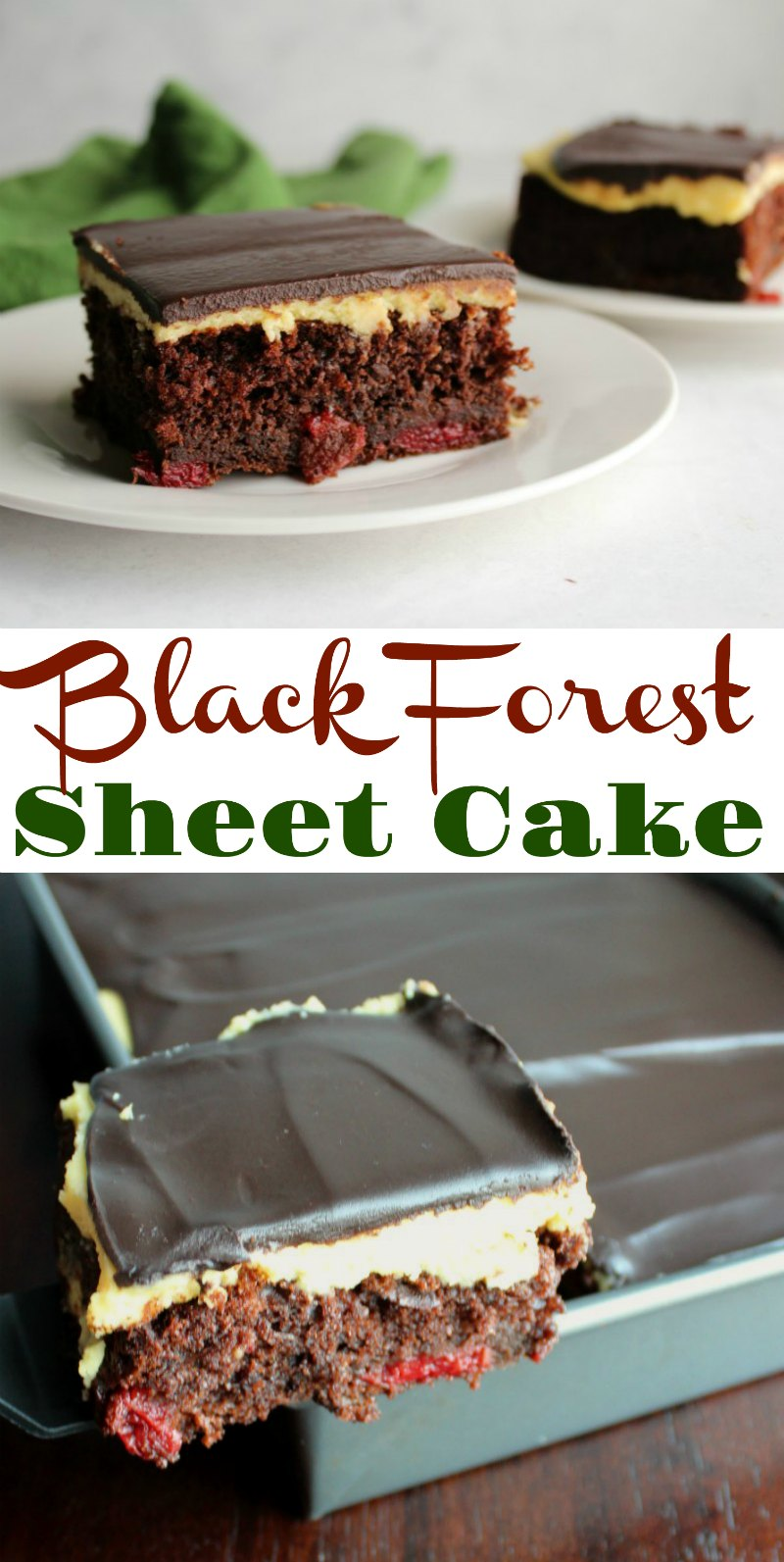 This simplified version of black forest sheet cake still feels ultra luxe. Moist chocolate cake studded with cherries, creamy vanilla German buttercream and a layer of ganache come together to make your dessert dreams come true!