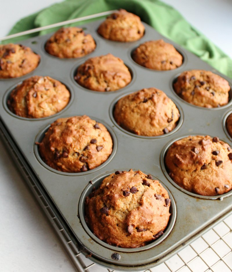 freshly baked oatmeal chocolate chip sourdough muffin in tin cooling.