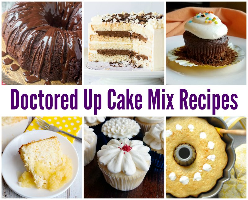 collage of cakes made with doctored up cake mix recipes