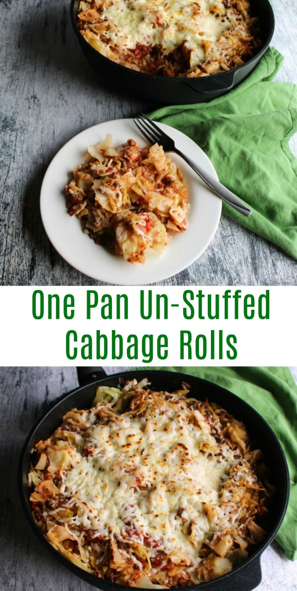 Get the flavor of cabbage rolls without the work! Un-stuffed cabbage casserole is a quick and easy one pan dinner that makes cabbage roll goodness possible on a weeknight!