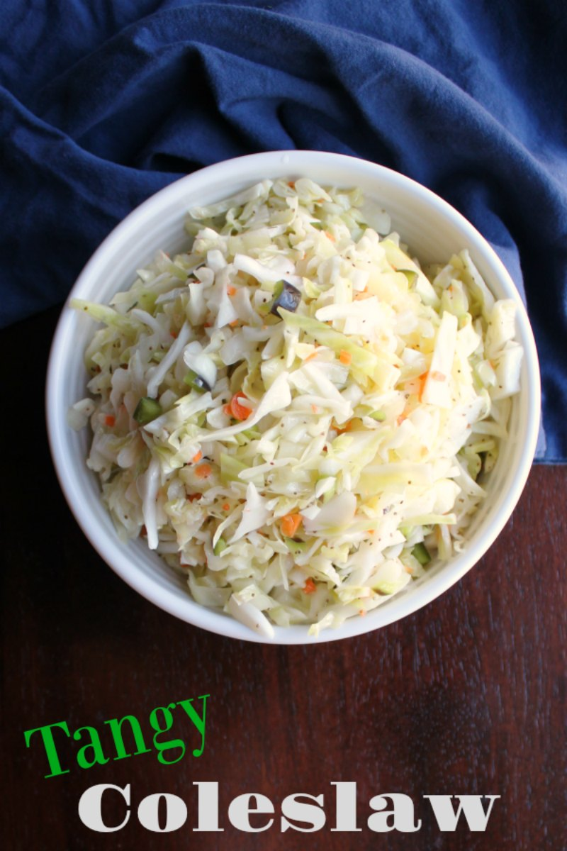 Fresh vegetables combine with a super simple sweet and tangy vinegar based dressing for a fresh and fabulous coleslaw.