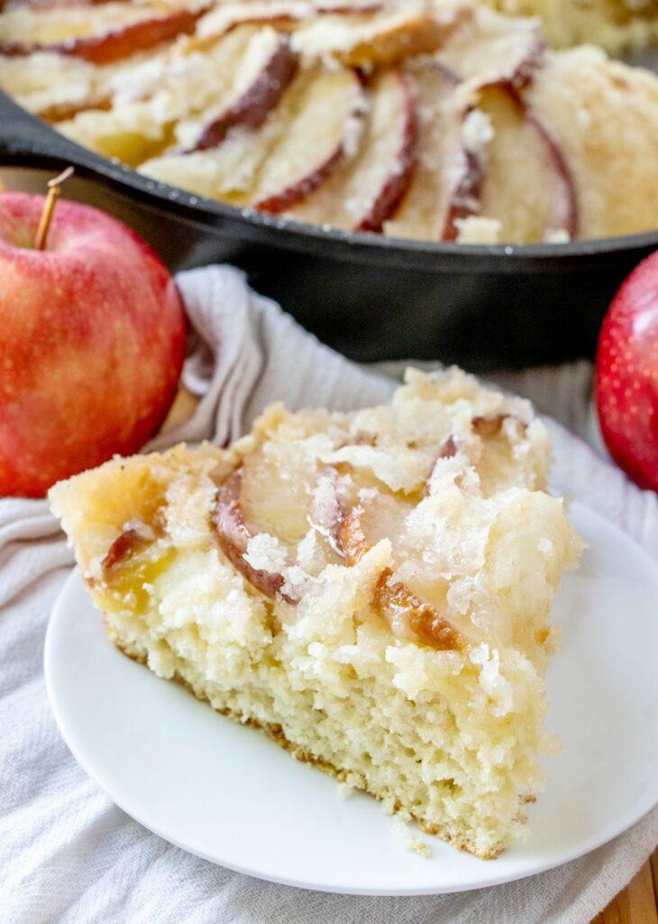 slice of dutch apple coffee cake, ready to eat.