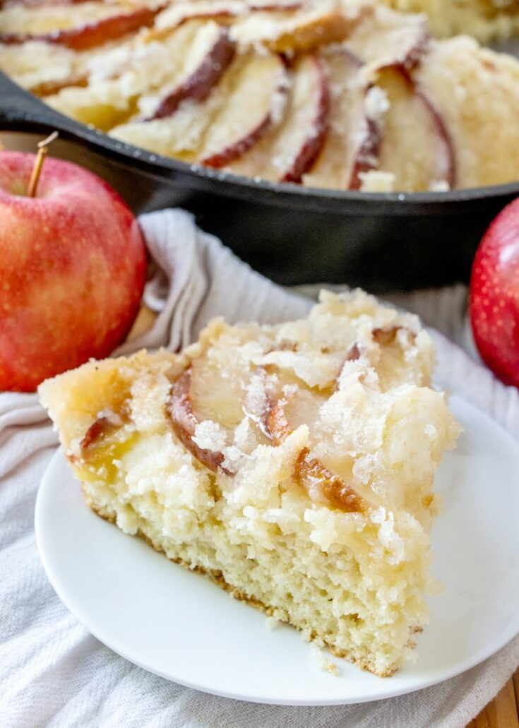 slice of dutch apple coffee cake, ready to eat.