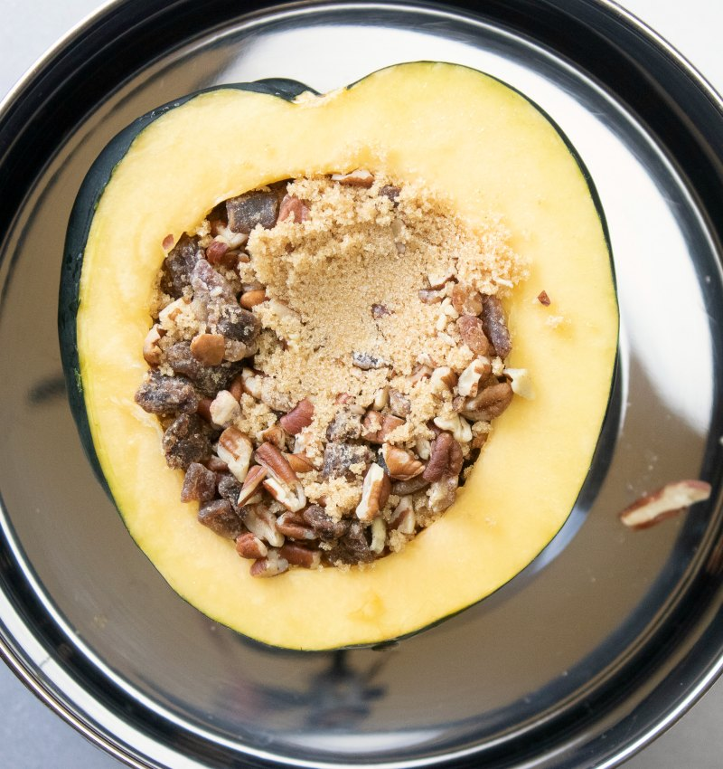 acorn squash half filled pecans, dates and brown sugar.