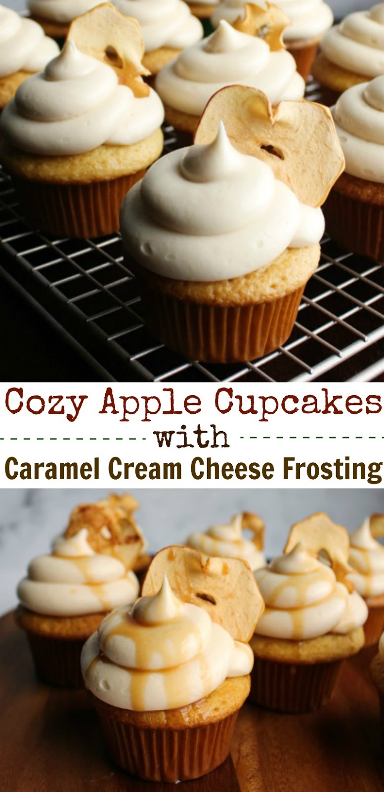 Lightly spiced cupcakes kissed with green apple syrup and topped with easy caramel cream cheese frosting are as pretty as they are tasty. Garnish with an apple chip and drizzle of caramel sauce for extra fall flare.