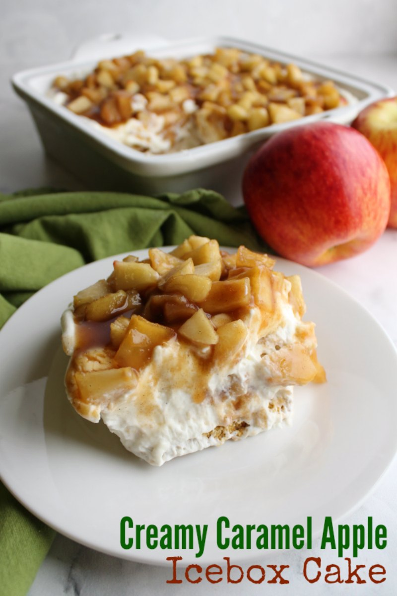 No bake creamy caramel apple icebox cake is a perfect way to transition to fall flavors without heating up the house. The vanilla cream cheese filling, Graham crackers and cinnamon brown sugar apples come together to make the perfect slice of dessert.