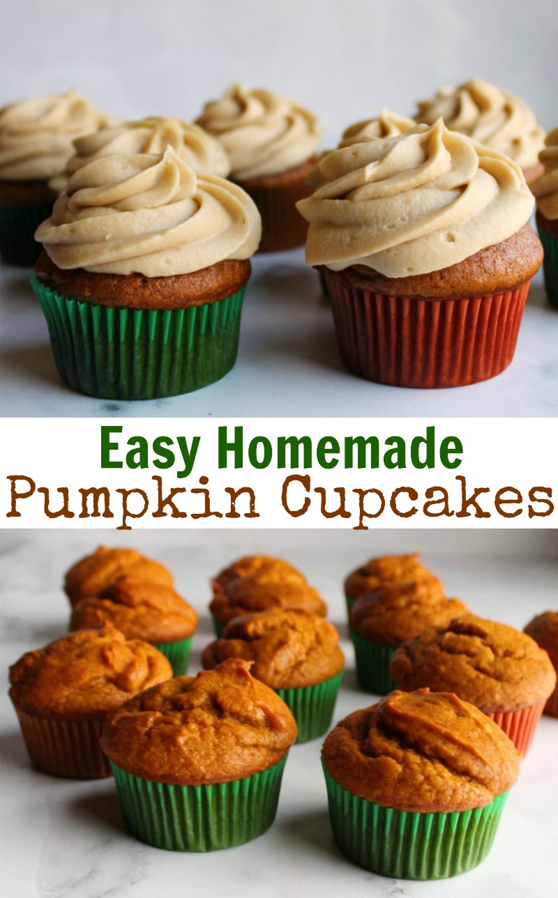 Fabulous easy to make pumpkin cupcakes that have just enough spice are a perfect fall treat. They come together quickly and will be perfect for your autumn parties.