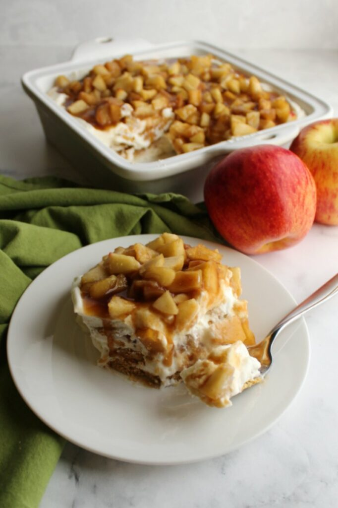 piece of no bake cheesecake style caramel apple icebox cake