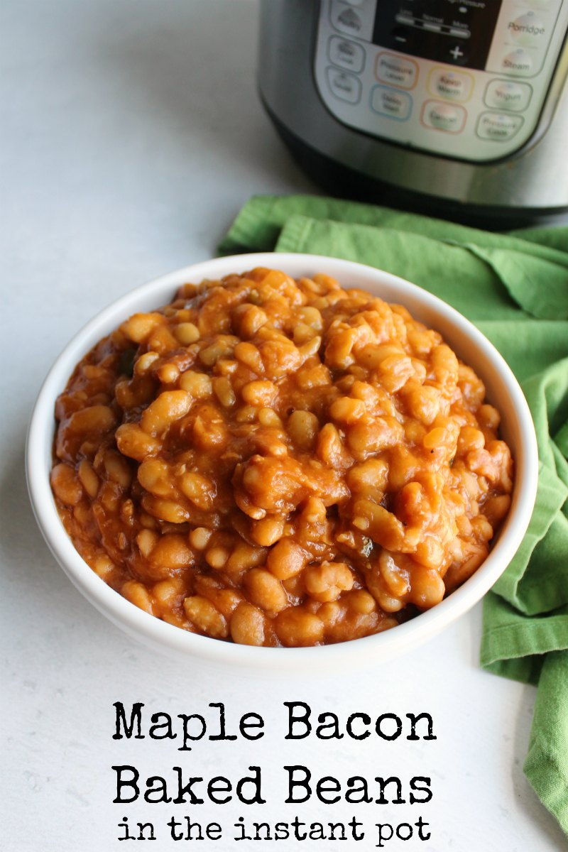 Baked beans are a classic side dish for good reason. This recipe flavors delicious baked beans with maple and bacon. They start with dried beans and can still be made in a couple of hours with the help of a pressure cooker.