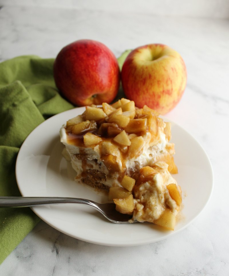bite of creamy caramel apple icebox cake on fork, ready to eat.