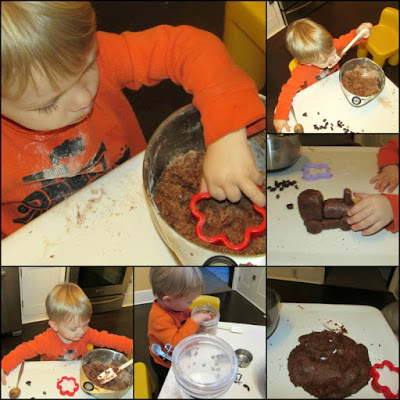 collage of two year old making and playing with peanut butter chocolate playdoh
