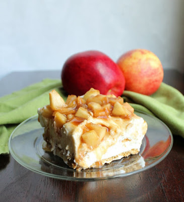 piece of no bake cheesecake style caramel apple icebox cake