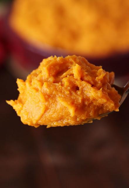 maple mashed sweet potatoes on spoon