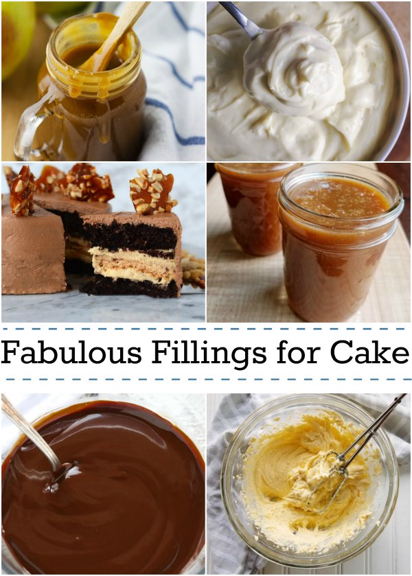 collage of caramels, puddings and ganache for cake filling recipes