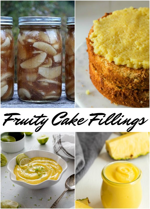 collage of fruity cake and cupcake fillings