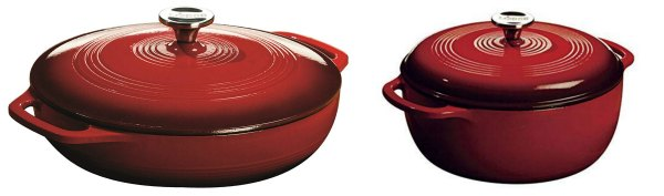 red casserole/braiser and dutch oven