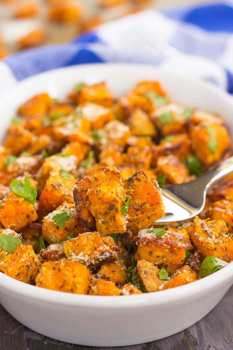 parmesan herb roasted sweet potatoes