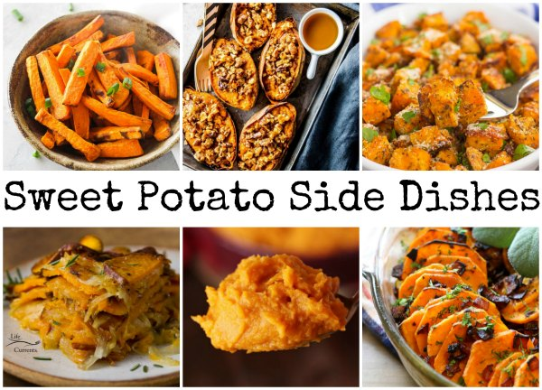 collage of sweet potato side dishes