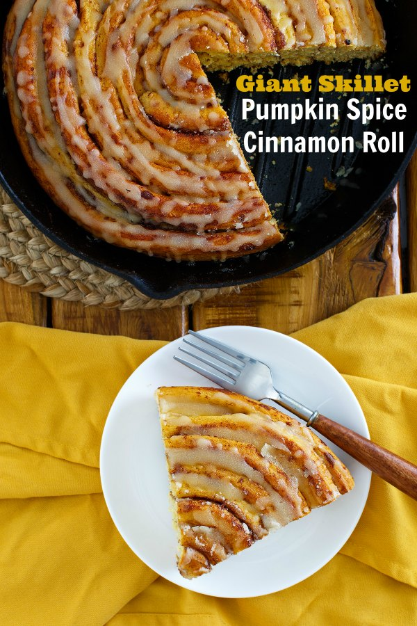 Any morning that starts with a slice of giant cinnamon roll is going to be good. If it is a big pumpkin skillet cinnamon roll with maple brown butter glaze, it is sure to be great!