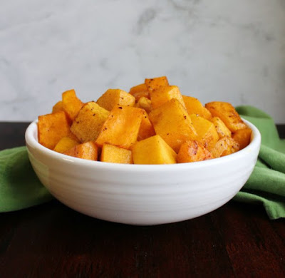cubes of air fryer roasted butternut squash in bowl