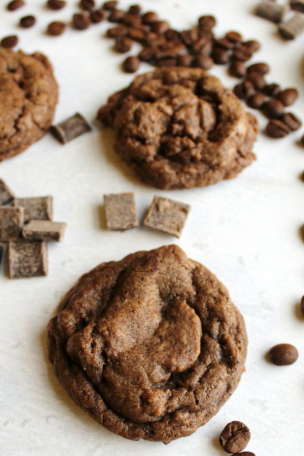 looking down on mocha chocolate chunk cookie with coffee beans and chocolate chunks