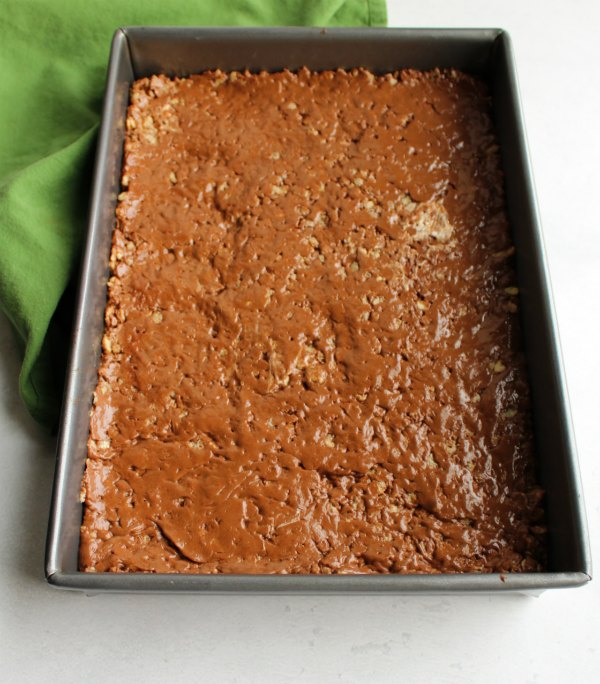 pan of chocolate and peanut butter rice krispie treat bars.