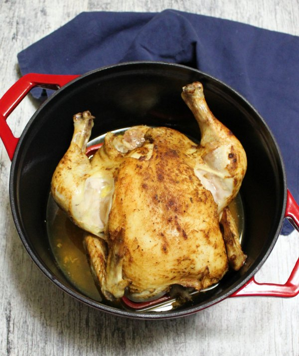 whole roasted chicken in dutch oven