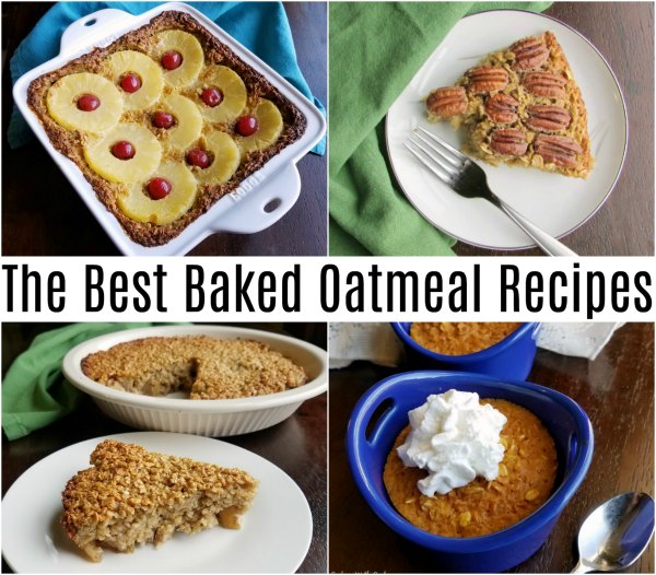 collage of baked oatmeal recipes