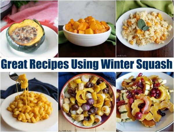 collage of winter squash recipes