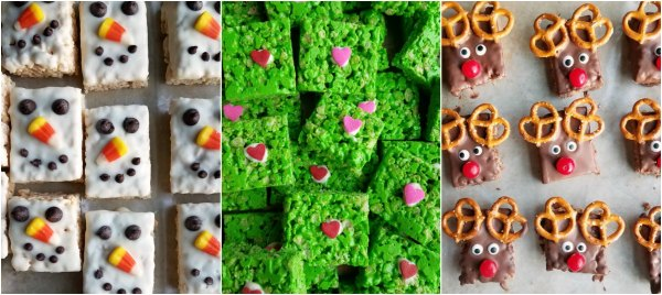 collage of rice krispie treats decorated as snowmen, Grinch hearts and Rudolph the Red nose reindeer.