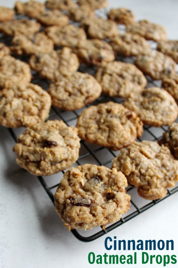 Nicole's oatmeal cinnamon drop cookies are a perfect mix of oats, raisins and cinnamon goodness. A batch makes a ton of cookies, but Nicole's family suggests you double it anyway. They are that good!