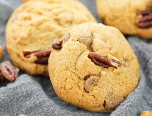 close turtle cookies with pecans and caramel bits