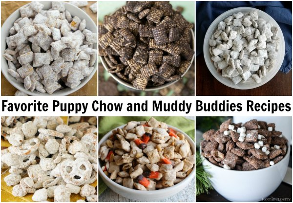 collage of bowls full of favorite puppy chow and muddy buddies recipes