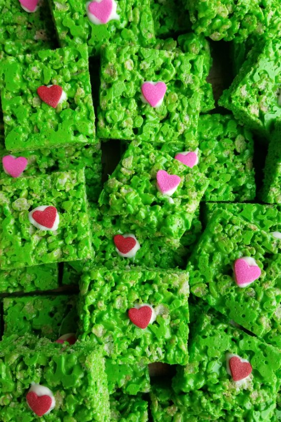 close up stack of Grinch rice krispie treats.