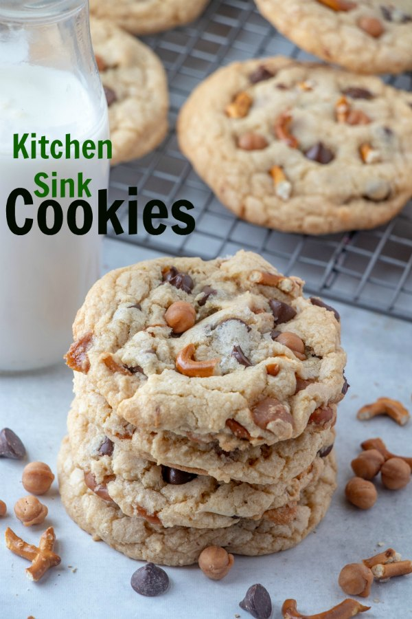 Sweet, salty, crunchy and soft, these kitchen sink cookies have it all. Full of caramel, chocolate and even bits of pretzel. They are based off the Panera kitchen sink cookies.