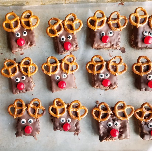 tray of Rudolph the red nose reindeer rice krispie treats.