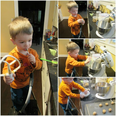 collage of pics of 2 year old Little Dude helping to make peanut butter blossom cookies