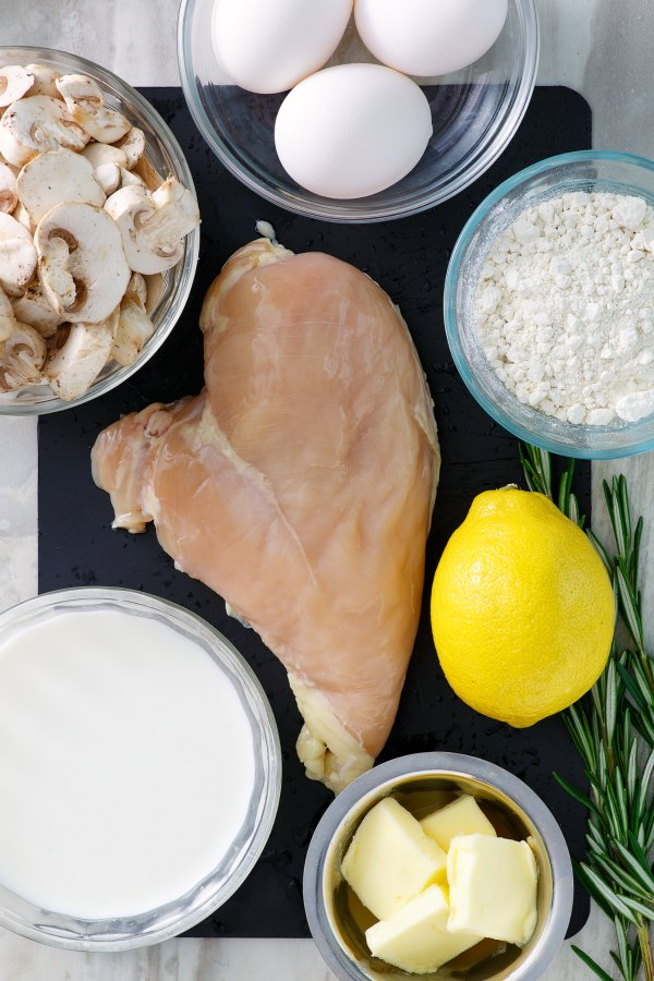 ingredients ready to be made into creamy chicken and mushroom baked crepes