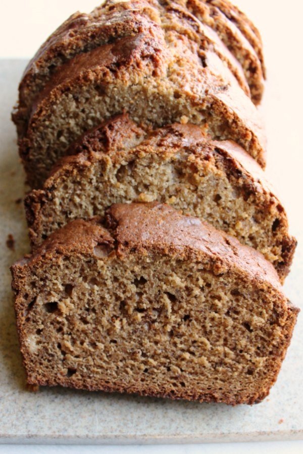 thick slices of freshly baked banana bread ready to eat