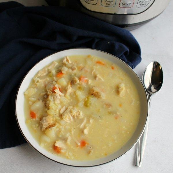 close bowl of Greek lemon chicken soup ready to eat.