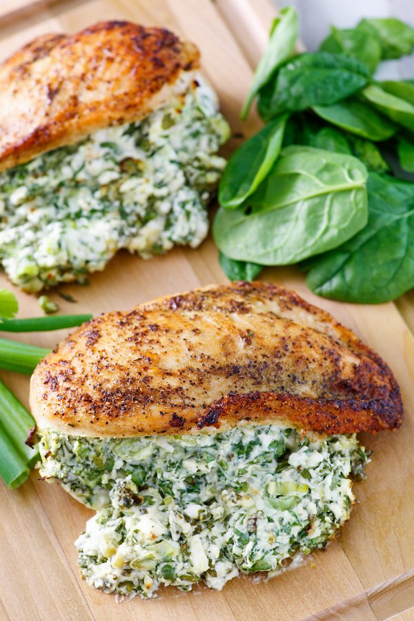 chicken breasts cooked to golden brown and stuffed full of cheese and spinach filling