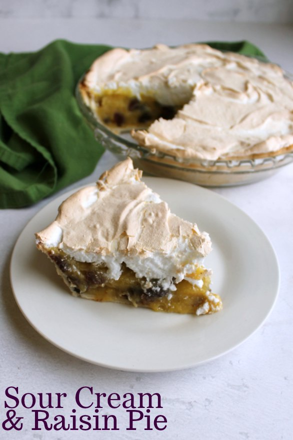slice of sour cream raisin pie served with remaining pie in background