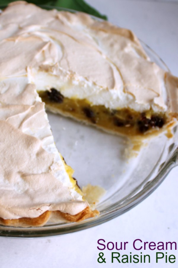 If this sour cream and raisin pie tastes like something your grandma would make, it's because she probably would! This pie is sweet, creamy and delicious with a pillow of fluffy meringue on top.