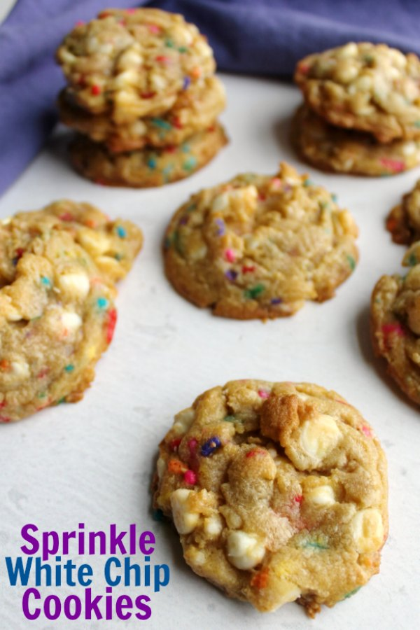 Soft and delicious cookies loaded with colorful sprinkles and white chocolate chips are perfect for a party. They are also a fabulous birthday treats for folks who prefer cookies to cake.