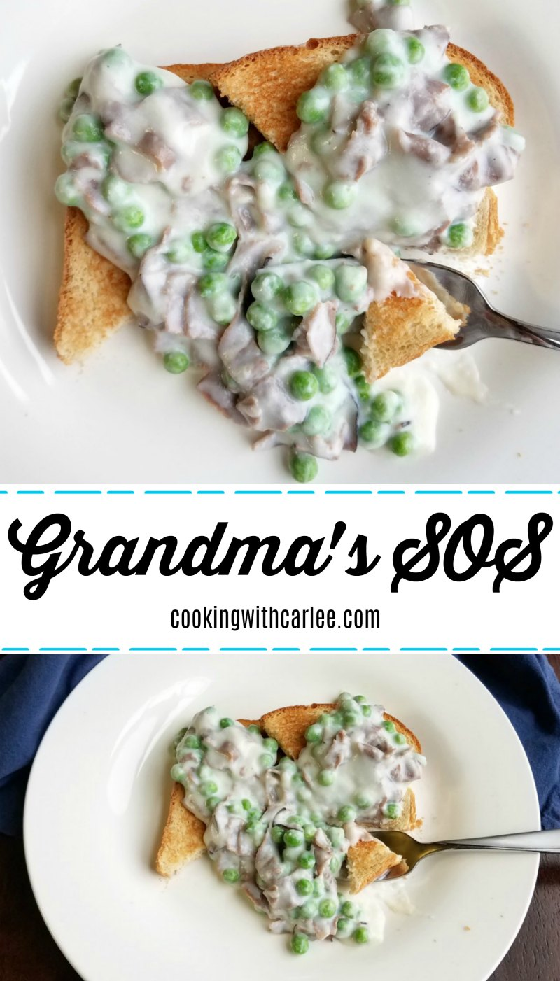 This old timey dinner recipe is still a favorite of my grandma's.  I would imagine if your parents or grandparents were from a certain era, they know about it too.  Some people may have their own little twists they like to put on it, mine is the addition of peas.  Though mushrooms would be great too. It is a great cheap and easy meal that is quick to get on the table.  Served up some creamed beef on toast for a tasty blast from the past.