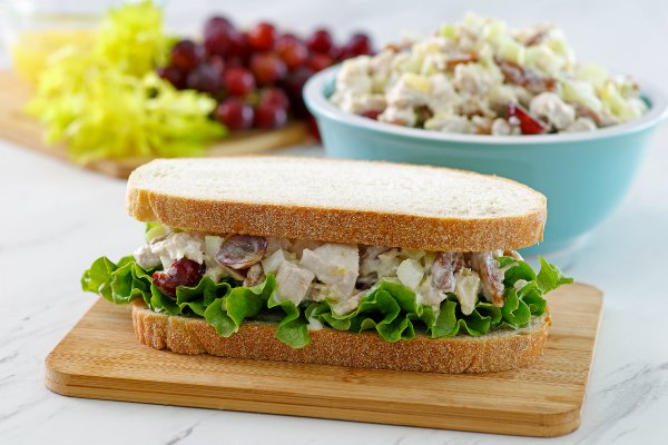 chicken salad and lettuce sandwich on hearty bread.