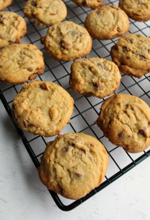freshly baked chewy vanilla pudding chocolate chip cookies on a cooling rack