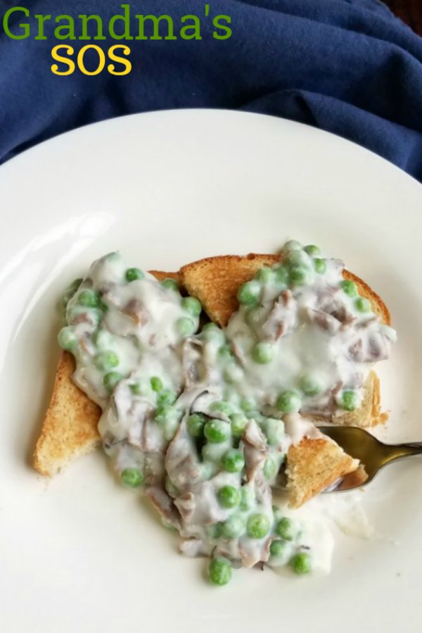 SOS with beef and peas served over toast with text on image.