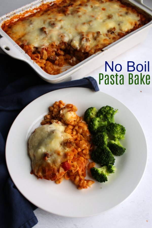 This dump and bake dinner has all of the flavor of your favorite pasta dishes with no time spent over the stove! It's the perfect mix of pasta, cheese, sausage and sauce without any of the effort!